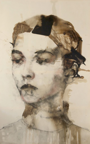 Monika, 2015, bitume e carboncino su tela, cm 300x180