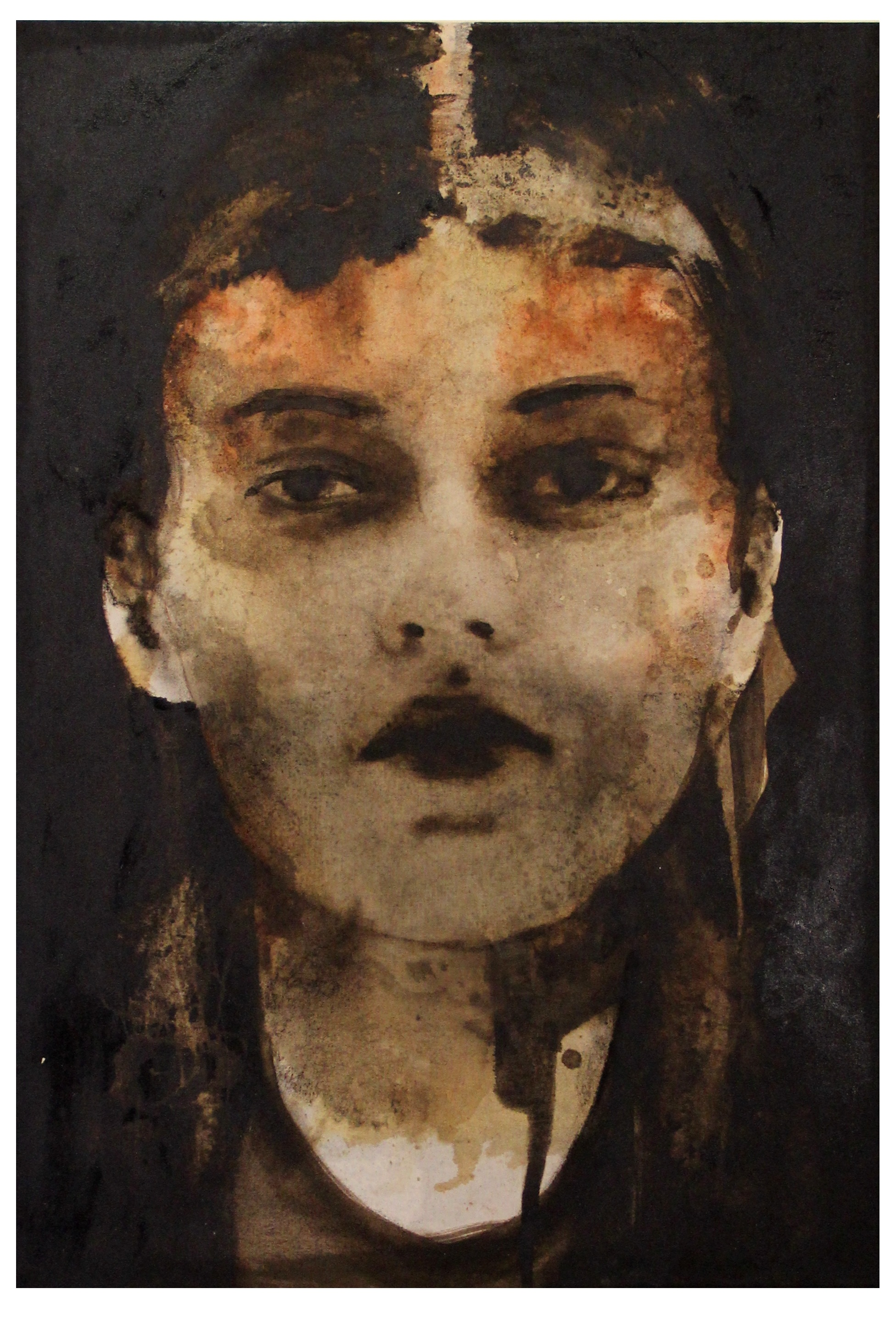 Emile, 2015, bitume, carboncino e sanguigna su tela, cm 70x100