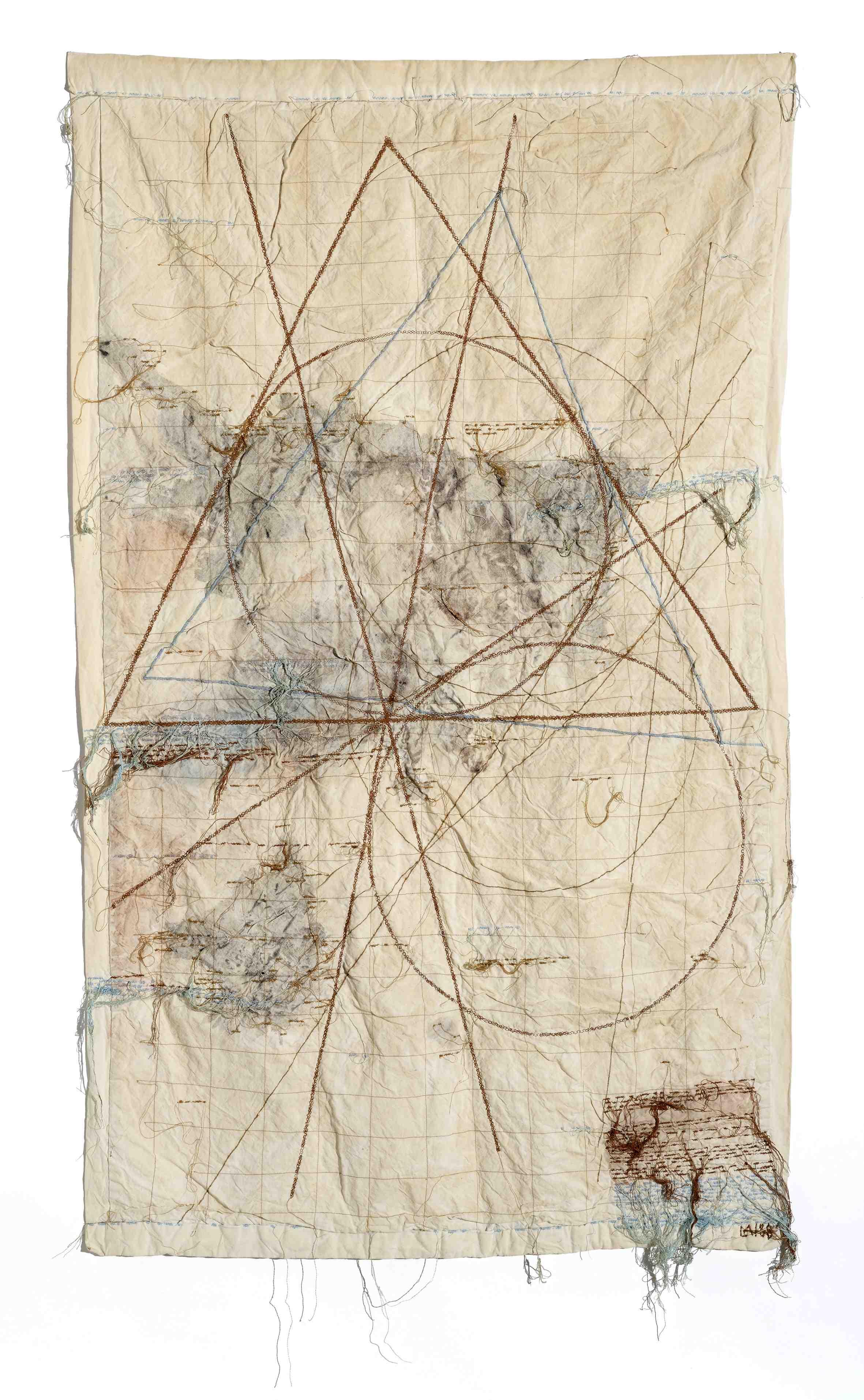 Maria Lai, I Luoghi Invisibili, 1988, filo su tela, cm 127 x 75