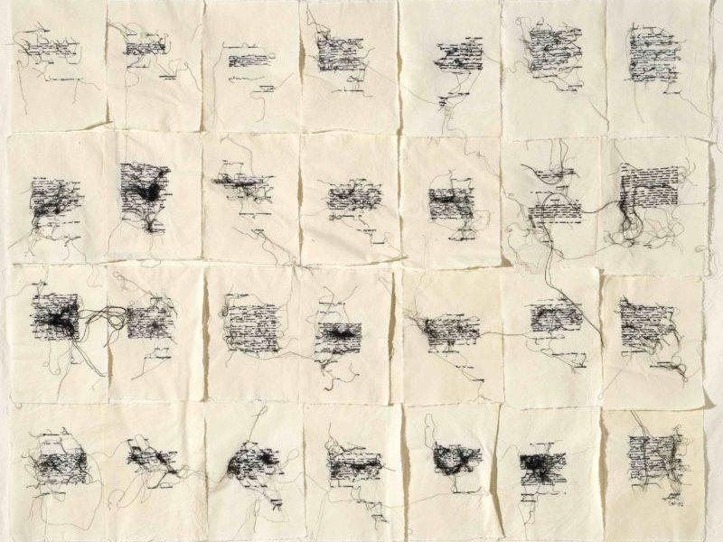 Maria Lai, Lenzuolo, 2007, filo su tela, cm 103 x 150