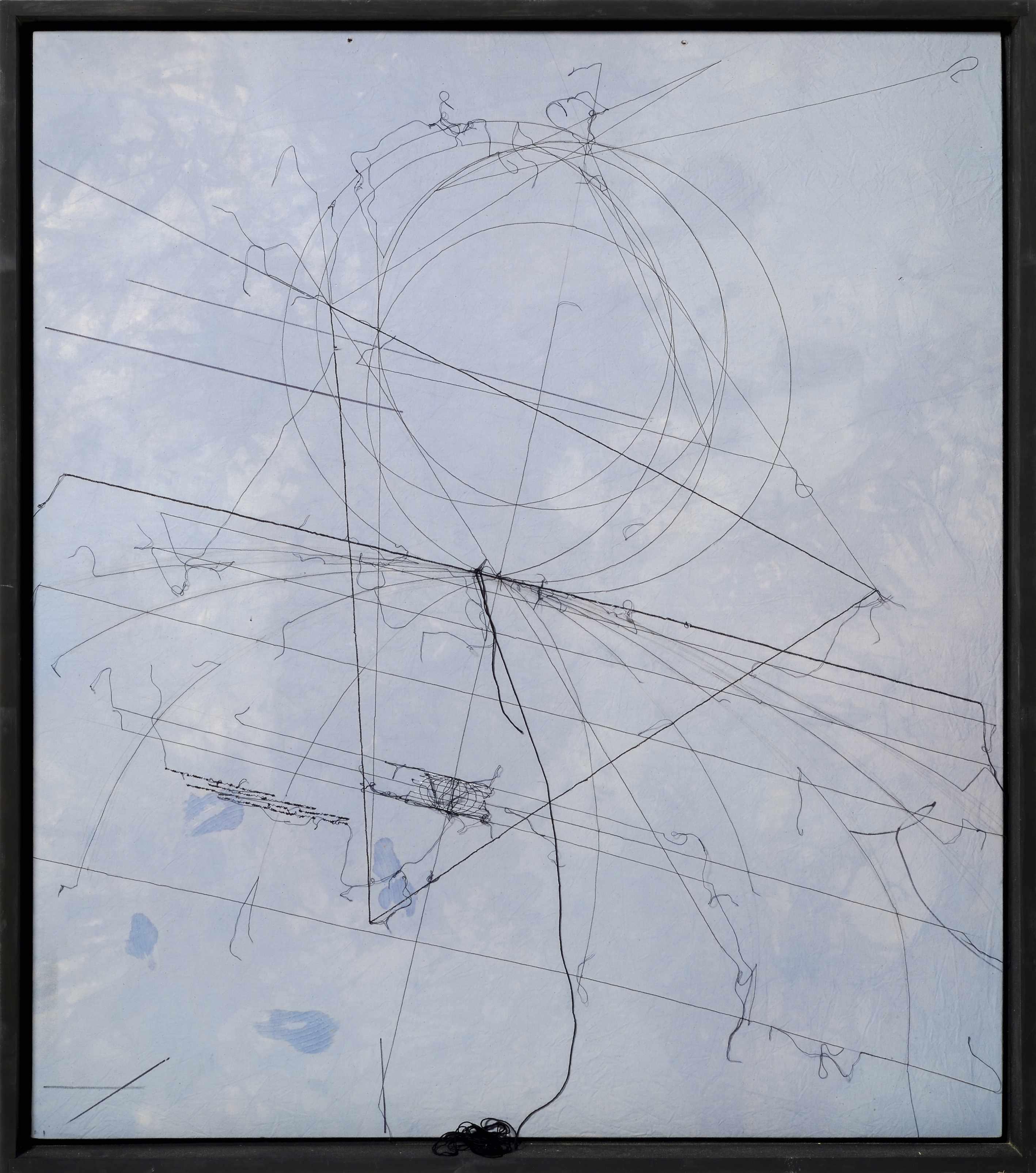 Maria Lai, Geografia, 1994, filo su tela, cm 126 x 111