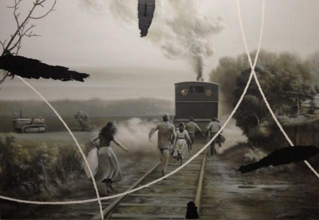Corre, corre, corre, 2013, tecnica mista su tela, cm 192 x 280