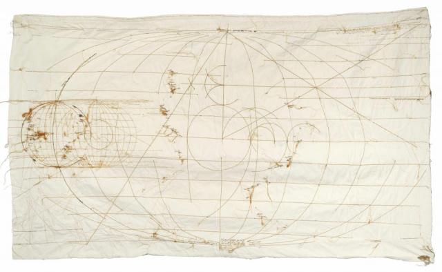 Maria Lai, Storia Universale, 1982, filo su tela, cm 122 x 206