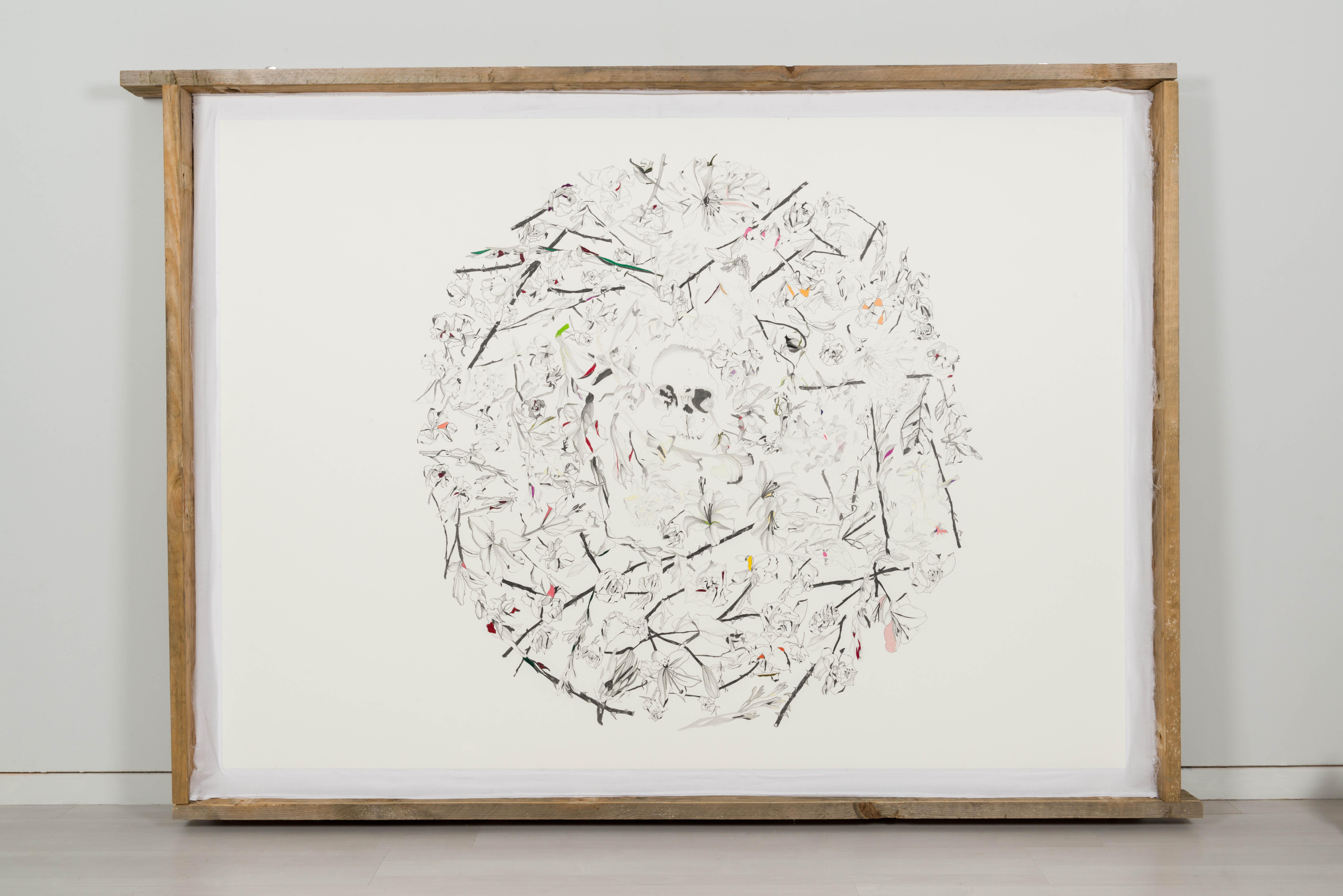 Memento mori, 2014, matita e pastelli su carta, legno, garza, cm 222x159x11
