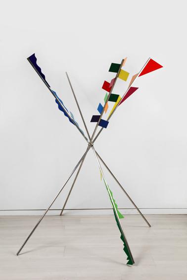 Fausta Squatriti, Camping, 1969, stainless steel, enameled plate, altezza massima cm 130 x 210 (dimensioni variabili)