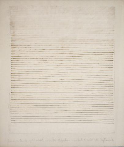 Cronotopografie, 1976, inchiostro stilografico e ipoclorito di sodio su tela, cm 60x50