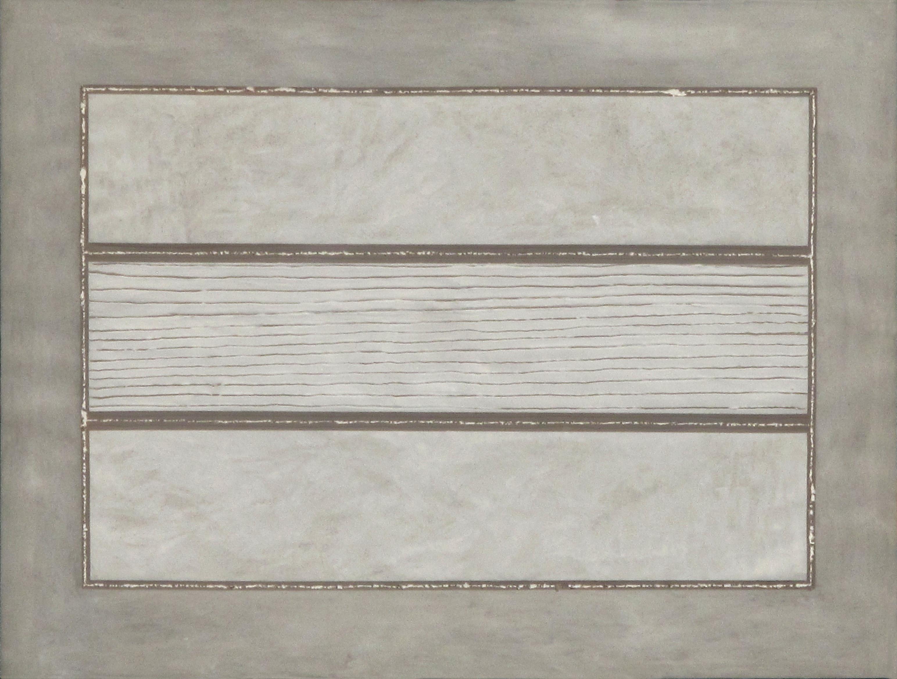 Stesure, 1975, cemento e collante su tempera grigia su cartoncino, cm 100x70