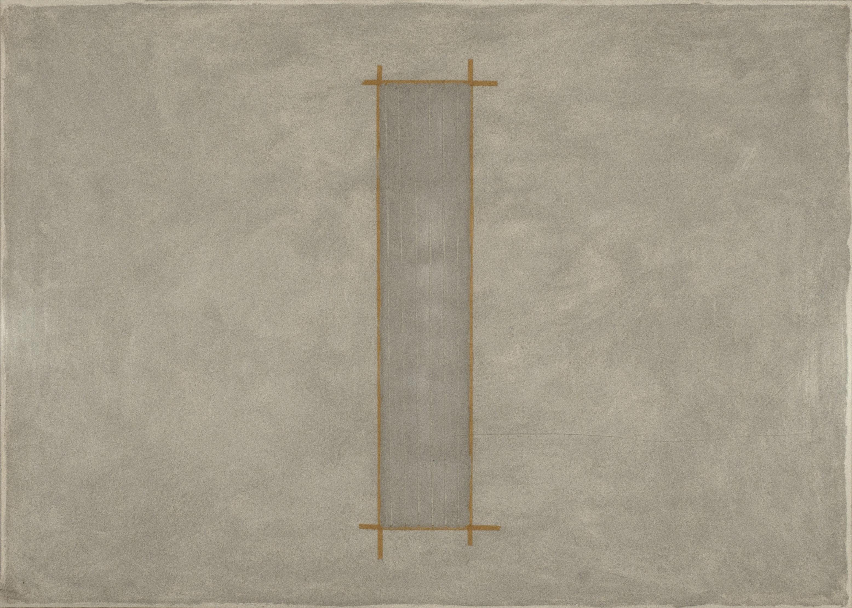 Stesure, 1975, cemento, collante e nastro su carta, cm 70x100